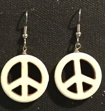 PEACE Earrings Surgical Hook New White Color Howlite Dyed (large)