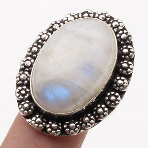 Moonstone Sterling Silver Plated Ring US 8 Gemstone Jewelry R4090