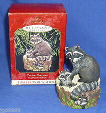 Hallmark Ornament Majestic Wilderness #3 1999 Curious Raccoons Mama Babies Used