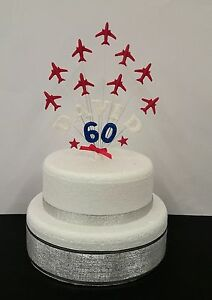 Any single name and age with 9 x Red Arrows formation Birthday Cake Topper