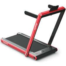 2 in 1 Folding Treadmill Dual Display with Bluetooth Speaker-Red