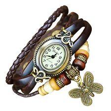 PAPILLON Quartz mode Weave enveloppante en cuir Bracelet femmes montre-bracelet