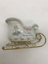 Christmas Precious Moments Angel With Animals Sleigh Shape Candleholder