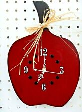 Red Apple Wooden Wall Clock (Hand Painted Finish)(Battery Operated)