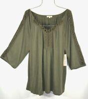 New Plus Size 2X Fall Green Crochet Lace Peasant Blouse Tunic Boho Top NWT