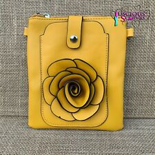 Mustard Rose Small Bag with Smart Phone Spectacle Holder Long Cross Body Strap