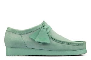 NEW MENS CLARKS ORIGINALS WALLABEE LOW LIMITED EDITION MINT GREEN SUEDE SHOES