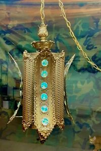 Vintage Nouveau Moroccan Filigree Hanging Lamp w/ Aurora Borealis BoHo