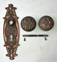 Antique Cast iron Victorian Eastlake Backplate Door Plate and Knobs Reclaimed
