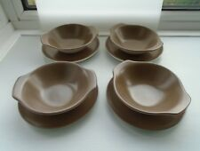 Set of 4 No. 70s vintage Poole Pottery Twintone  Lugged Soup Bowls and saucers.