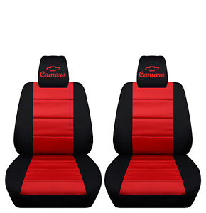 Fits 2010 to 2015 Chevrolet Camaro Black and Red Seat Covers ABF