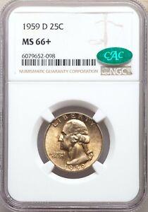 1959-D NGC CAC MS66+ Plus Registry Quality Washington Quarter Golden Orange Tone