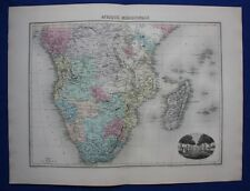 Original antique map AFRICA, SOUTH AFRICA, MADAGASCAR, LIBREVILLE, Migeon 1891