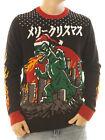 Ugly Christmas Sweater Men's Godzilla Xmas LED Light Up Sweatshirt