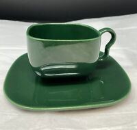 Set Of Franciscan TIEMPO Dark Green Green Coffee Cup And Saucer