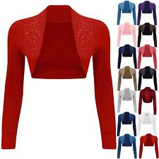 Womens Ladies Beaded Long Sleeve Collared Short Bolero Crop Shrug Cardigan Top