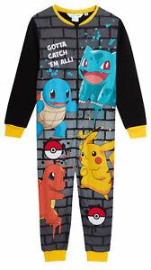 Kids Pokemon All In One Cosy Fleece Pjs Pikachu Pyjamas Zipped Boys Loungewear