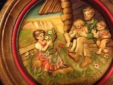 Carved Wooden Anri 1972 Father's Day Plate of Father and Children