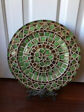 """Large 13"""" Handmade Mosaic Tile Plate Home Decor ~ Gold, Brown and Green Tiles"""