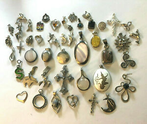 Sterling Silver Jewelry Lot Pendants Charms WEAR 105 Grams 925 TESTED #1349