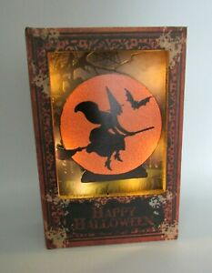 HALLOWEEN LIGHT UP WITCH ON A BROOM FAUX BOOK STASH BOX NEW