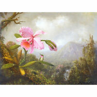 Heade Orchid Hummingbird Mountain Waterfall Painting XL Canvas Art Print
