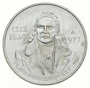SILVER - WORLD COIN - 1977 Mexico 100 Pesos - World Silver Coin *810