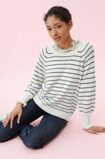 Rebecca Taylor COZY STRIPE PULLOVER SWEATER S SMALL CREAM NAVY NEW