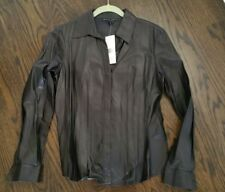 NWT SAKS LAFAYETTE 148 BLACK BUTTER LEATHER BUTTON SHIRT FITTED - 8 Retail $698!