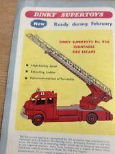 M9-1 Ephemera 1958 Advert Dinky Supertoys Fire Escape No 956