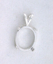 16x12 16mm x 12mm Oval Cabochon Cab Pendant Sterling Silver Prenotched Mounting