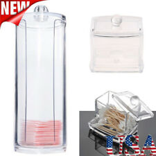 Makeup Cosmetic Case Clear Q-tip Storage Holder Cotton Pad Swab Box Organizer US