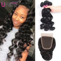 Malaysian Loose Wave 3 Bundles With Closure 100% Human Hair Weave Bundles UNice