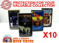 10x VHS MOVIE SMALL CLAMSHELL - CLEAR PLASTIC PROTECTIVE BOX PROTECTORS SLEEVE