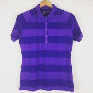 Nike Golf Tour Performance Dri-Fit Purple Striped Golf Polo Women's Size Medium