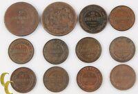 1812-1912 Russia 1 & 2 Kopek Lot (12 coins) Empire Kopeck C#118 Y#9.2 10.2