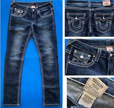 TRUE RELIGION Joey Super T Jeans Women's 30. L33. Rhinestones & White Stitching