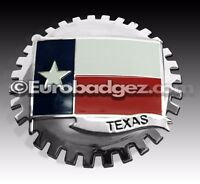 1 - NEW Chrome Front Grill Badge Flag State of TEXAS Tejas MEDALLION TEXAS