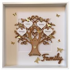 Personalised Family Tree 3D Box Frame Keepsake Wedding Gift Home Gold Glitter