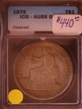 1876 $ United Staes Trade Dollar, ICG, AU-55, Cleaned, SALE