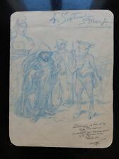 Bibliophilie, reliure, illustration,  rare dessin humoristique, circa 1900 !