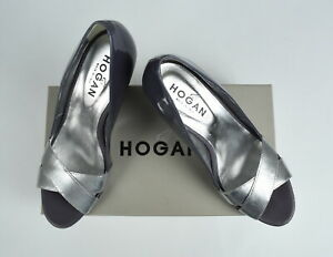 RRP €250 HOGAN Women 38 EUR Peep Toe Leather Lilac Metallic Court Shoes 3098 mm