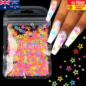 Colourful Hollow Star Shape Glitter 3D Sequins for Nails Design Manicure