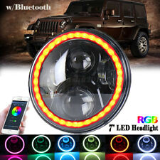 "7"" Halo Ring LED Headlight With RGB Bulb Bluetooth App Control For Jeep Wrangler"