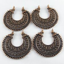 Red Copper Color Alloy Crescent Shape Connector Jewelry Pendant Findings 10pcs