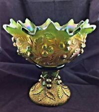Vintage and RARE Northwood Green Acorn Burrs Carnival Glass Punch Bowl and Base