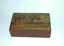 Stoneware Studio Pottery - Pretty Trinket Box (Tree/Sunset Design) Impressed MH.