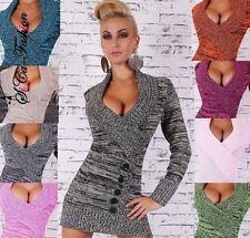 Lange Damen-Pullover mit V-Ausschnitt