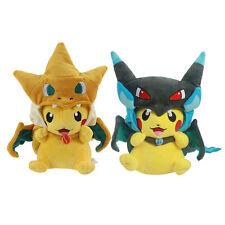 Set of 2 Pikachu Mega Charizard X Y Cape Pokemon Plush Toy-  9 Inches-USA Seller