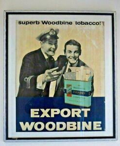 Rare Genuine 1940/50's Export Woodbine Cigarette Advertising Poster (Framed)